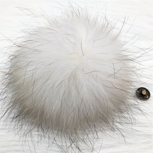 "15cm 6""-Cream White Real Raccoon Fur Pompom Ball W Button On Hat Bag Charm Key Chain Keyring DIY Accessories"