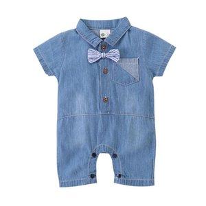 New Kids Boys Blue Denim Playsuits Overalls Children's Gentleman Bow Tie Short Sleeve Jumpsuits Outfits Child Boy Clothes