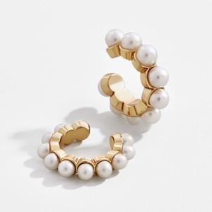 1PC клип серьги Pearl Jeweled Мини-Ear Cuff Геометрическая C Форма клипсой дамы Ear Cuff тавра женщин ювелирные изделия