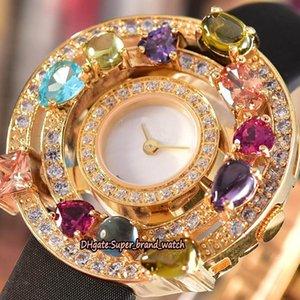 Дешевые высокое качество ювелирных изделий высокого Astrale 102011 AEP36D2CWL белый циферблат швейцарский кварцевый женский часы золото Алмазный диск Кожаный ремешок Леди часы