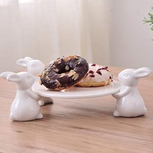 Keramik Teller Kaninchen Figurine Organizer Fach dekorative Keramik-Häschen Porträt Geschenk und Handwerk Ornament für Zigarettenasche und Schmuck