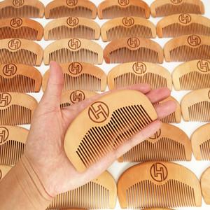 MOQ 50pcs personalizzata Il MARCHIO vendita dei capelli del pettine di legno della barba Pettine Premium Pera legno spazzola per capelli Amazon Hot personalizzati Barbiere Pettine Pocket Combs