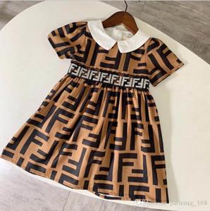 여자 2020 새로운 도착 여름 여자 짧은 소매 높은 품질의 면화 아기 어린이는 전체 F 편지 공주 흰색 인형 칼라 드레스를 인쇄 드레스