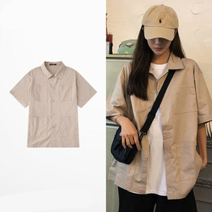 Moda para mujer del estilista de las camisas sport cómoda de las mujeres playa del verano de manga corta de los hombres de alta calidad para mujer Blusas