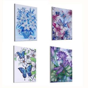 Алмазные Картина частичной специальной формы Алмазные вышивки Цветы лотоса Dragonfly бабочки 5D DIY комплекты Стразы Декор Главная DIY ремесло