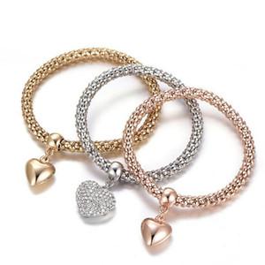 Herz-Armbänder 3pcs / set Frauen-Legierungs-Charme-Armbänder Lieber Kristall-Armband-Armbänder Schmuck Valentinstag Geschenk LJJO7590