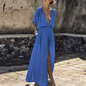 Miyouj del V Neck Beach di occultamento Medio manica maxi donne costume da bagno estate Long Beach Dress Plus Size Beachwear
