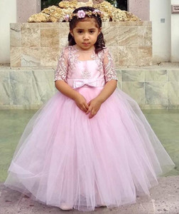2020 Rosa Lace baratos Flower Girl Dresse Sheer Neck vestido de baile Pouco casamento menina vestidos baratos Comunhão Pageant Vestidos Vestidos F260