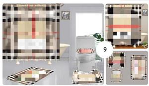 Caso de encargo clásico de impresión grano Baño cántaro del baño cortina de ducha de múltiples funciones impermeable cortina de baño de la familia WC Set 3 piezas