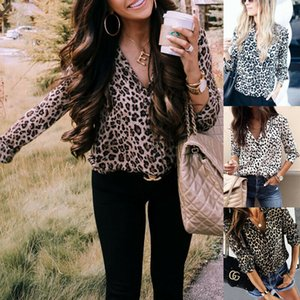 New Fashion Womens Ladies Long Sleeve V-Neck Button Leopard Printed Baggy Shirt Tops Blouse Plus Size S-3XL