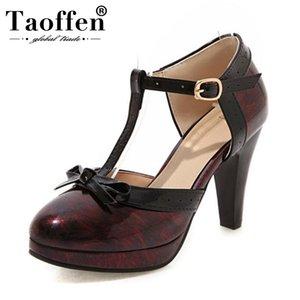 TAOFFEN Plus Size 32-48 New Fashion Women Sandals bowknot Plataforma sapatos de salto alto verão Mulheres T Strap Partido Calçado
