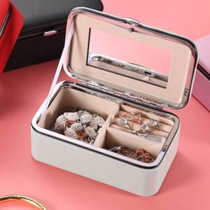 Taşınabilir Mücevher Kutusu Depolama Organizatör Ayna deri Kadınlar Küpe Yüzük Kolye Takı Aksesuarları Fonksiyonlu Saklama Kutusu