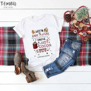 Deixe assar Material bebida cacau quente E Relógio de Natal o filme T Shirt Mulheres Moda Camisa gráfica bonito Top Aesthetic Kawaii