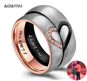 Ti amo anelli del cuore Promise Ring in acciaio inox I suoi Coppie Hers reale fasce di nozze di fidanzamento Top Ring acc288