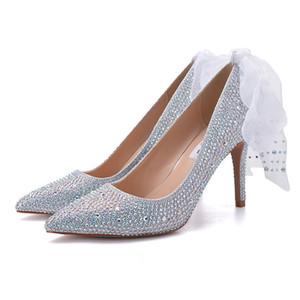 Мода ленты Кристалл невесты свадьба высокие каблуки обувь Серебряный один Стилет горный хрусталь невесты банкетный партии обувь 7 см / 9 см