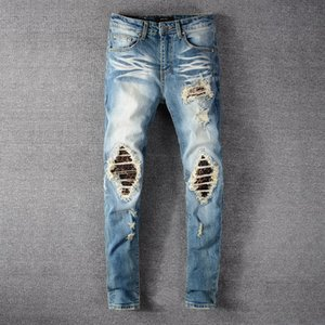 Men's Designer Jeans 2020 Fashion New High Street Trendy Ripped Jeans Distressed Slim Punk Youth Pants Zipper Slim Trousers