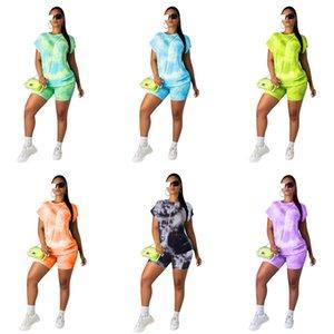 Été Femmes Shorts Traksuit à manches courtes T-shirt + Tops Shorts 2 Piece Set Contraste couleur T-shirt Vêtements Costume Design Casual 2XL