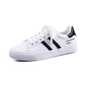 sapatas de lona de couro Joker Beier 2019 outono nova versão coreana de pequenos sapatos brancos estudantes do sexo feminino sapatos casuais plana e algodão