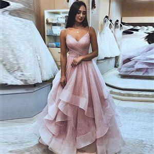 2019 Elegant Spaghetti Strap Deep V Neck Sleeveless Evening Dresse Piping Layers Prom Dress Fashion Sexy Cocktail Party Dress