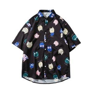 Сыпучие Мужчины Рубашка мультфильм печати с коротким рукавом нагрудные Chic Пара рубашки мужчин дышащий вскользь Уличная гавайские рубашки