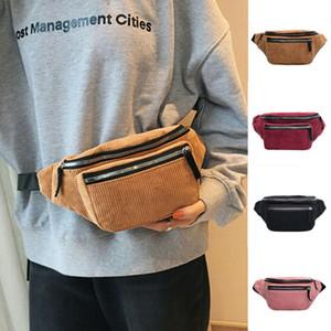Bum Esporte Corduroy Bloco de Fanny Ladies saco da cintura Belt Travel Money Bag Moda Mulheres do