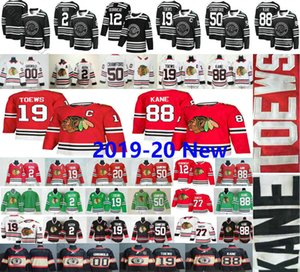 2020 New Chicago Blackhawks Jonathan Toews 19 88 Patrick Kane 12 Alex DeBrincat 00 Clark Griswold Keith Crawford 50 77 Kirby Dach Ice Jersey