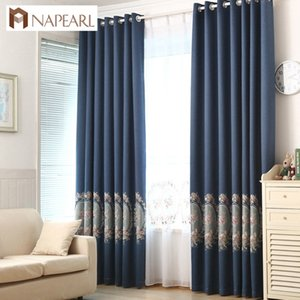 NAPEARL Blackout curtains faux linen embroidered luxury curtain navy blue green purple floral living room window curtain modern