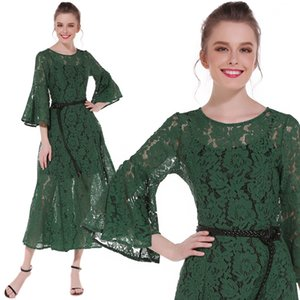 New Style Round Neck High Waist Flared Long Sleeve Vintage Lace Cutout Maxi Long Dress With Belt