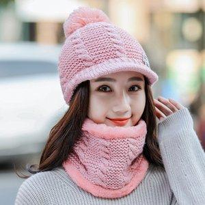 Calymel Eşarp ve Şapka Setleri Koruyucu Rahat Kış Kadife Kalınlaşmak Beyzbol Şapka Isıtıcı Atkısı Kadın Örme Yün Kap