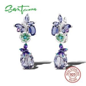 Santuzza Boucles d'oreilles en argent pour les femmes 925 Sterling Silver Dangle Earrings Argent 925 avec des pierres Cubic Zircone Brincos Bijoux Y19062703