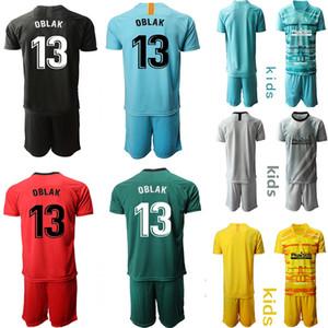 أطفال حارس المرمى لكرة القدم الفانيلة 19 20 أتلتيكو مدريد رقم 13 OBLAK كرة القدم يضع الاطفال KIT موحدة الاطفال شخصية مخصص لكرة القدم الفانيلة
