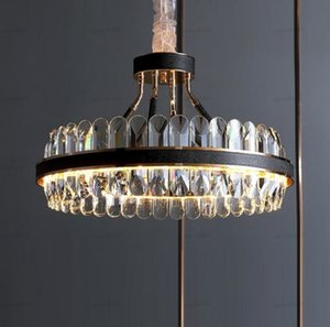 Free shipping LED luxury living room crystal chandelier modern designer creative leather restaurant chandelier bedroom lamps LLFA