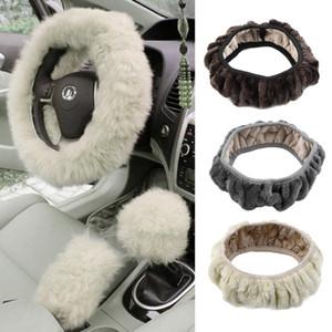 Charm Warm Long Wool Fur Plush car Steering Wheel Cover woolen Car Handbrake Accessory hot selling Free Shipping