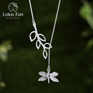 Lotus Fun Real 925 Sterling Silver Handmade Fine Jewelry Cute Dragonfly Leaves Necklace with Pendant Fashion for Women Collier V191203