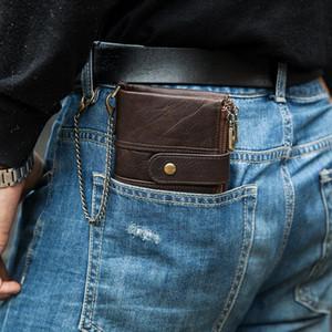 KAVIS 100٪ محفظة من الجلد الحقيقي الرجال كريزي هورس محافظ عملة المحفظة قصيرة ذكر حقيبة المال الجودة مع سلسلة Walet الصغيرة