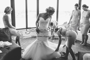Modest Lace Mermaid Wedding Dresses elegant lace up corset applique sweetheart tulle country garden backless plus size bridal Wedding Gowns