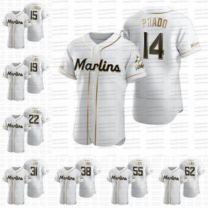 Martin Prado 2020 jerseys baseball Golden Edition Brian Anderson Miguel Rojas Sandy Alcantara Jorge Alfaro Lewis Brinson Jarlin Garcia