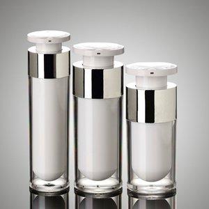 50 adet / grup gümüş 15 ml 30 ml 50 ml havasız şişe yüksek kalite Akrilik vakum pompası şişeleri losyon şişe Kozmetik Containe için kullanılan