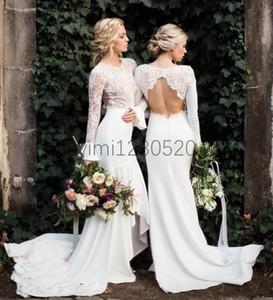 Sirena blanca vestidos de dama de honor joya hueco trasero de manga larga de alto encaje bajo ilusión jardín país boda vestidos de invitado dama de vestido de honor