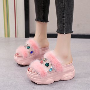 Pvc Transparent Platform Wedge Slippers Women Rhinestones Furry Chunky Slides Summer Sweet Platform Sandals Women 2020