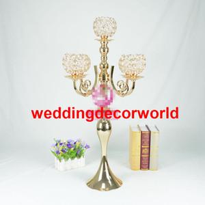 Yeni stil Rhinestone Şamdan Gümüş Altın Renk Mumluk Masa Merkezinde Vazo Kristal Şamdan Düğün Dekorasyon decor805 Standı