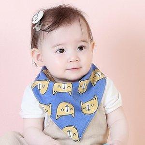 Oklady 2019 Baberos para bebés Estilo coreano Nuevo estilo Niños Vendaje triangular Imprimir Baberos a doble cara Dibujos animados Bebés neonatos