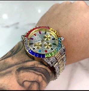 새로운 남자 일본 쿼츠 무브먼트 화려한 다이아몬드 큰 다이얼 강철 남자의 시계 시계