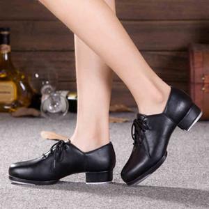 Echtes Leder Erwachsene Tanktanz Schuhe Männer Frauen Treten Schuhe Sport Leder Weiche Unterseite Hochaufprall Aluminiumplatte Schwarzer Schuh