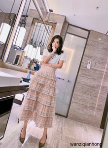 New 2020 fashion leisure goddess friend high waist thin cake skirt mini-Plaid half skirt 040506