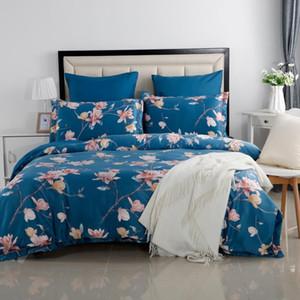 YAXINLAN cama set Roupa de cama de algodão puro Plante flores flor forma Patterns 6pcs fronha folha de rosto colcha de cama