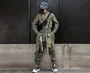 Raffreddare 2020 Hip Hop Streetwear tute Uomini nastro ricamato Cargo Pants manica lunga pagliaccetti Joggers Techwear Men