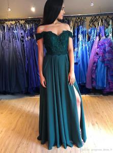 Abiti da sera Spento raso verde spalla con spacco Appliques del merletto Prom Dresses Con tasche 2020 Piano Lunghezza lunghi Abiti Homecoming