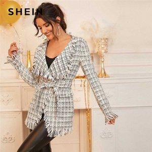 Shein Siyah Ve Beyaz Şelale Yaka Tweed Wrap Beit Kadınlar 2020 İlkbahar Uzun Kollu Ekose Yıpranmış Kenar Dış Giyim 82bU # ile Elegant Coat