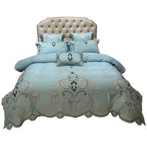 60-х годов атласный комплект постельных принадлежностей KING Size роскошные постельные принадлежности свадебные кружева Европейский пододеяльник простыня наволочка наборы одеяло одеяло крышка